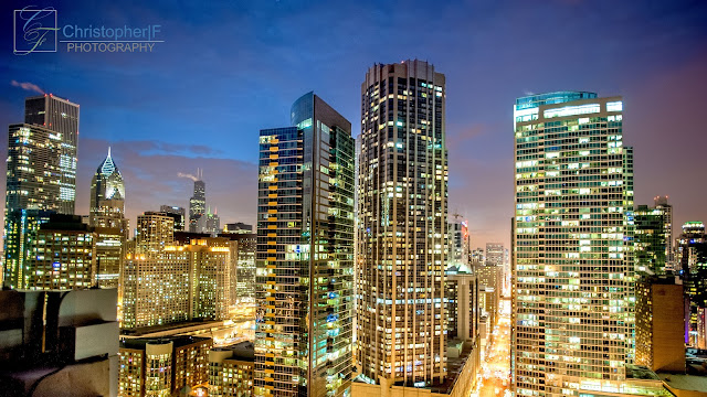 Chicago skyline at Blue Hour from a high!