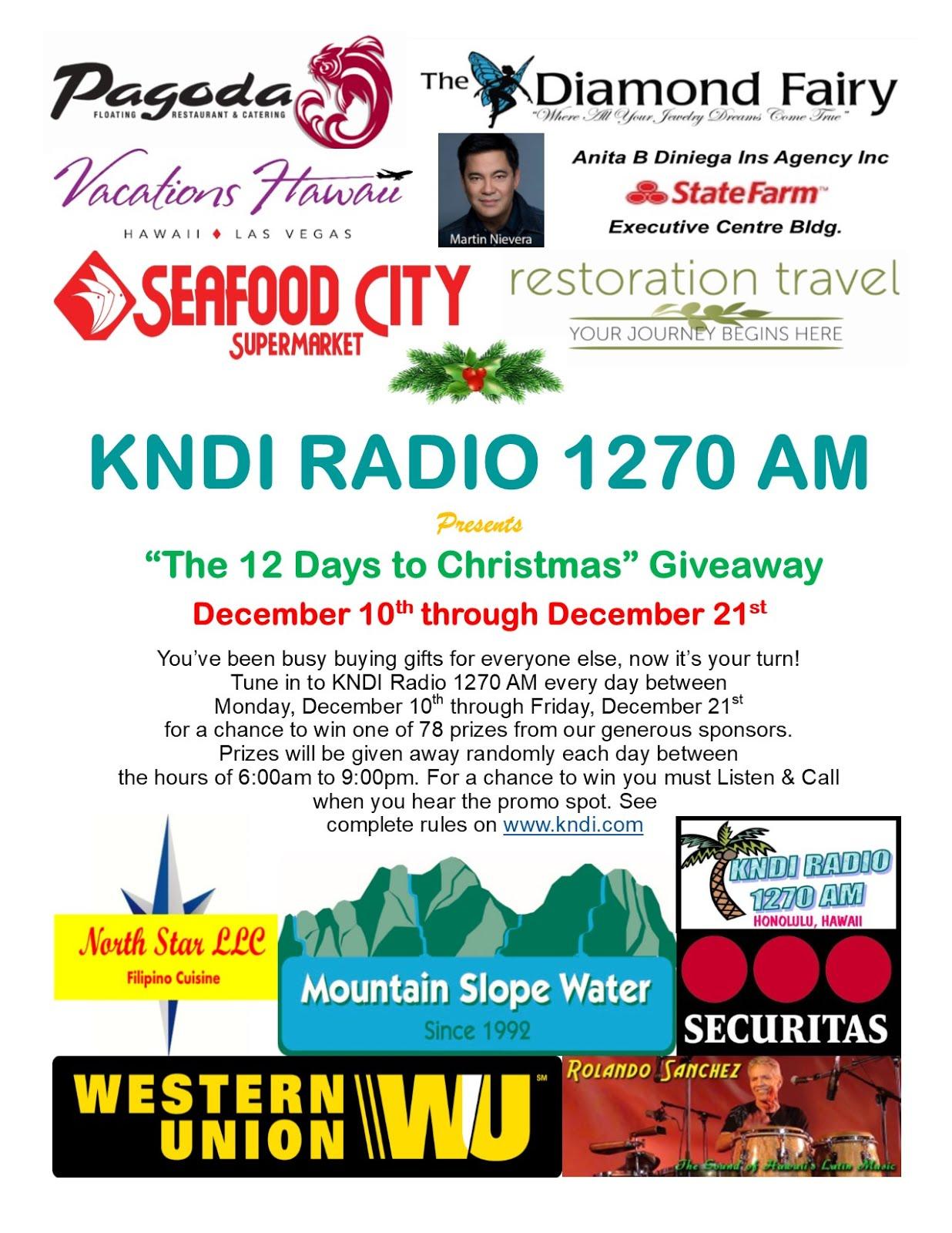 "KNDI RADIO'S ""12 DAYS TO CHRISTMAS"" GIVEAWAY"