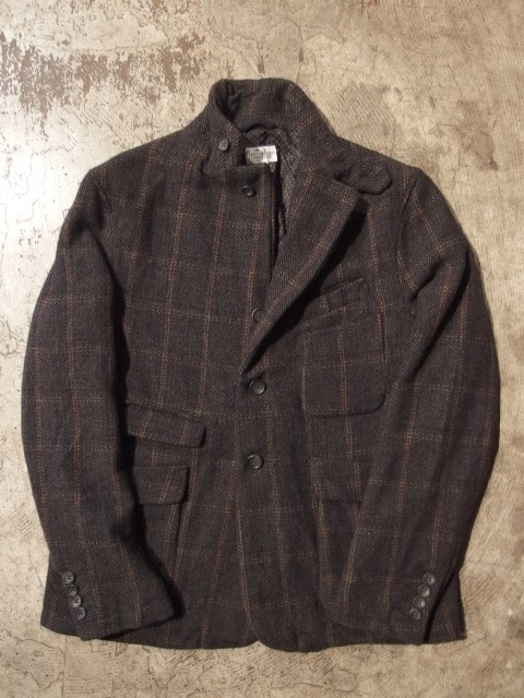 fwk by engineered garments ldt jacket in grey wool hb/windowpane
