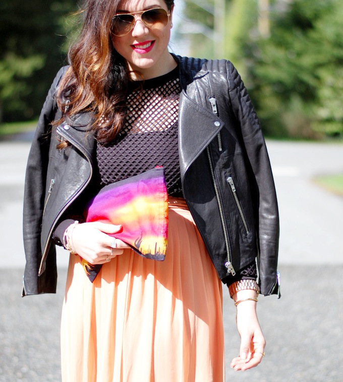 Mesh crop top and Forever 21 midi skirt outfit Covet and Acquire