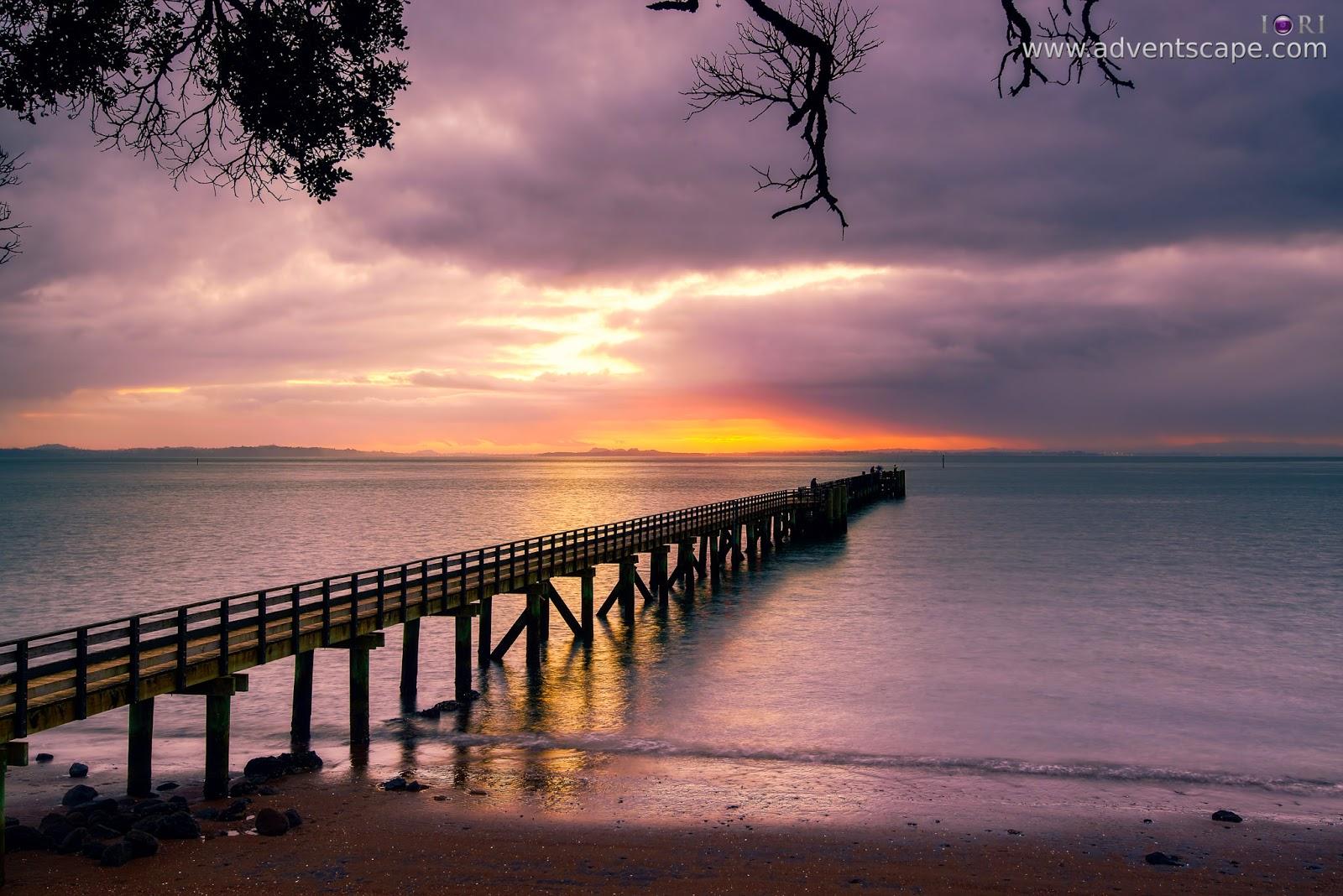 Philip Avellana, iori, adventscape, Cornwallis, jetty, seascape, landscape, North Island, New Zealand, fine art, sunrise, right side, camera right