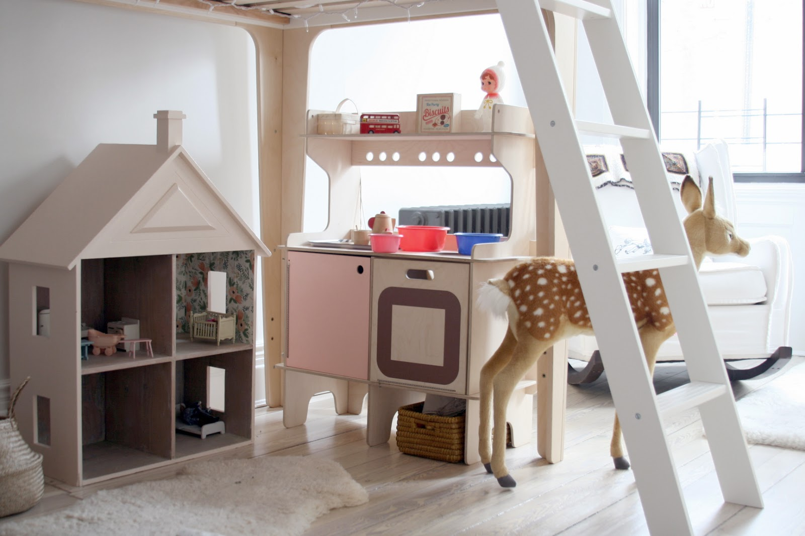 Fresh shopping guide perch loft bed and classic crib by oeuf teepee by great plains rug and rocker abc carpet and home play kitchen by momoll storage boxes