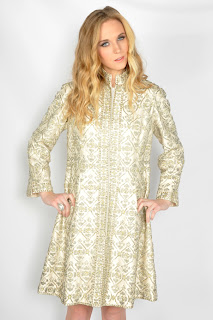 Vintage 1960's gold embellished baroque style long sleeved dress