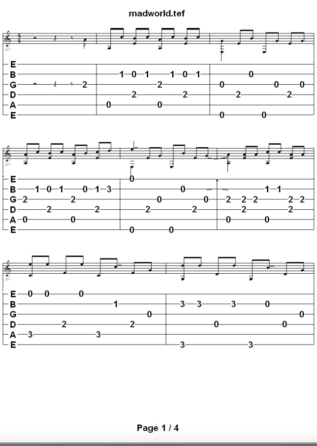 Mad World Chords Guitar