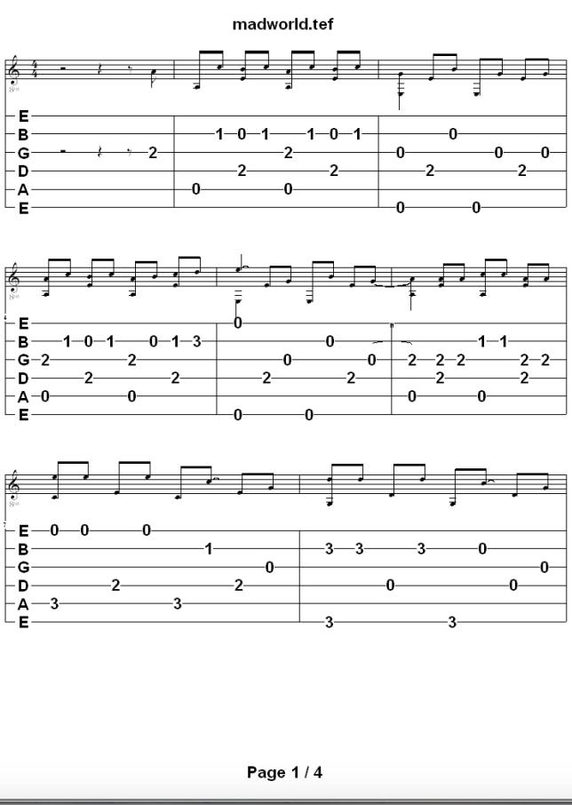 Mad World fingerstyle guitar tab - Pinterest