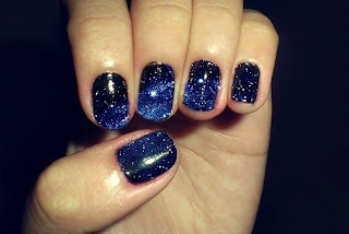 midnight blue nail art