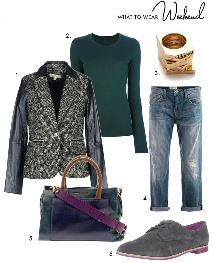 marc jacobs handbag, handbags, oxford shoes, distressed denim, boyfriend jeans, tweed jacket, casual look