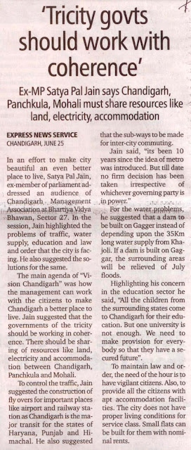 'Tricity govts should work with coherence' - Ex-MP Satya Pal Jain says Chandigarh, Panchkula, Mohali must share resources like land, electricity, accommodation