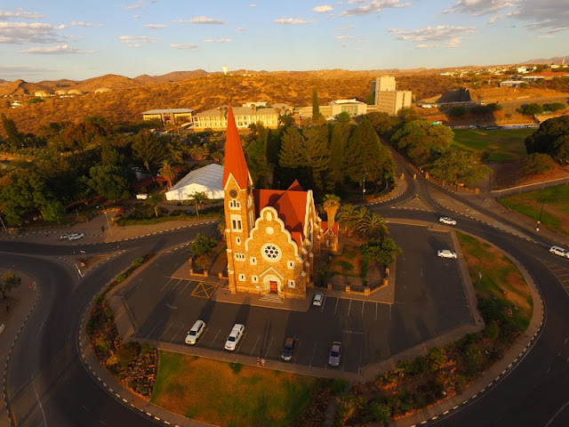 Namibia: Windhoek Christuskirche aerial photo gallery