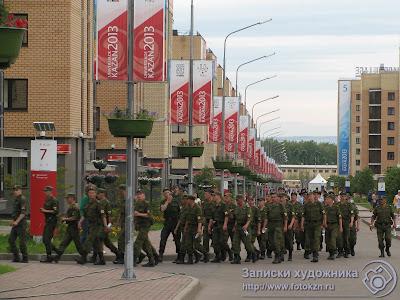 Военнослужащие срочной службы - участники репетиции открытия Универсиады