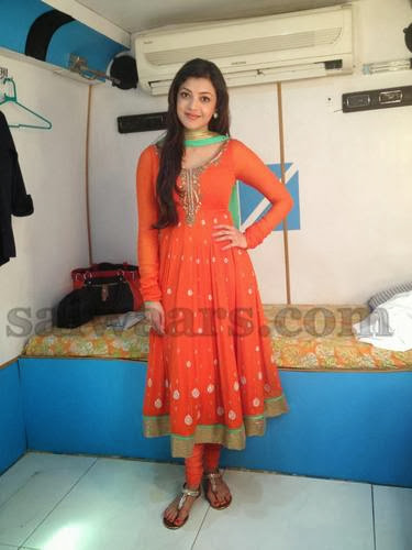 Kajal Agarwal Orange Anarkali Salwar