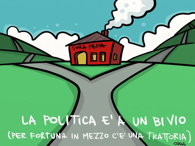 gava vignette politica satira ridere piangere illustrazione napolitano governo bivi bivio osteria trattoria strade colline