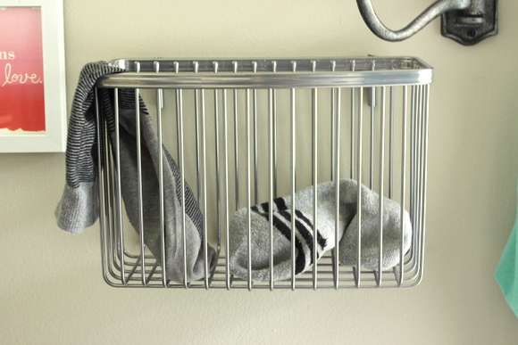 Basket for extra socks in the laundry room