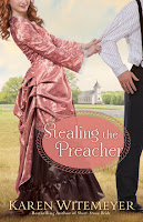 cover of Stealing the Preacher by Karen Witemeyer shows a woman in a pink dress pulling on a man's arm; a church is in the distance