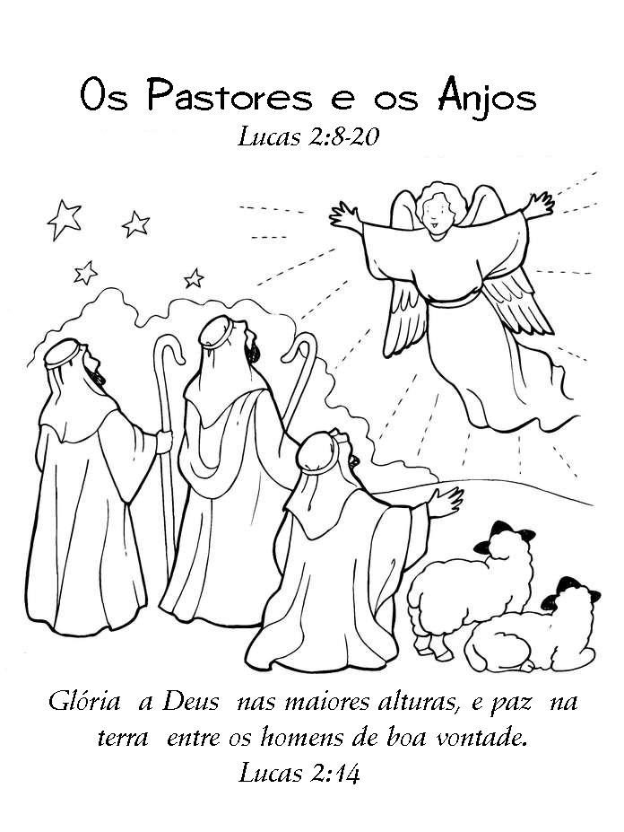 minha herança os anjos anunciam o nascimento de jesus para colorir