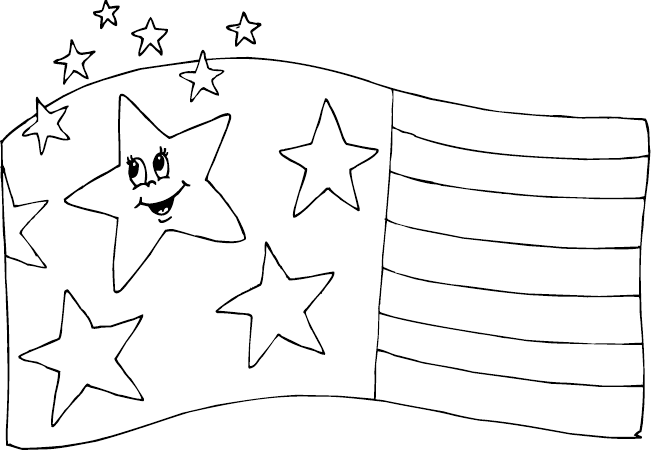 Usa flag smiling star coloring picture title=