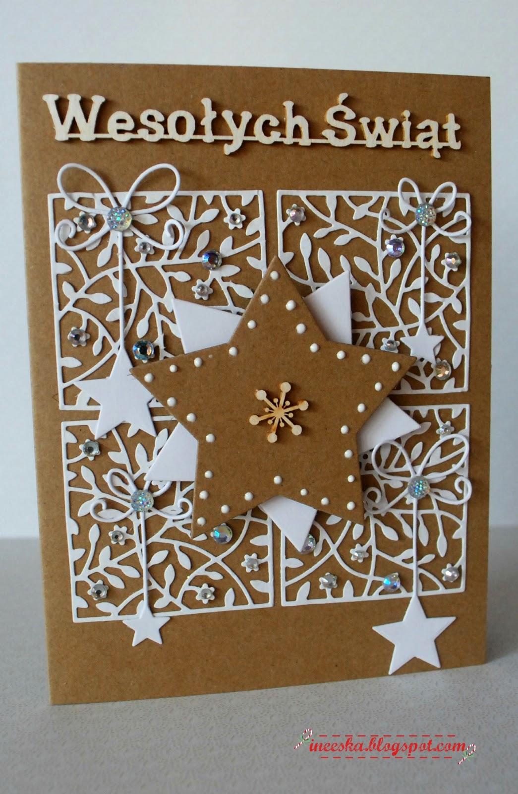 Kartki Boże Narodzenie, ineeska, ineska kraft, ineeska craft