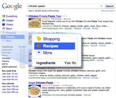 Google Recipes View Search Feature