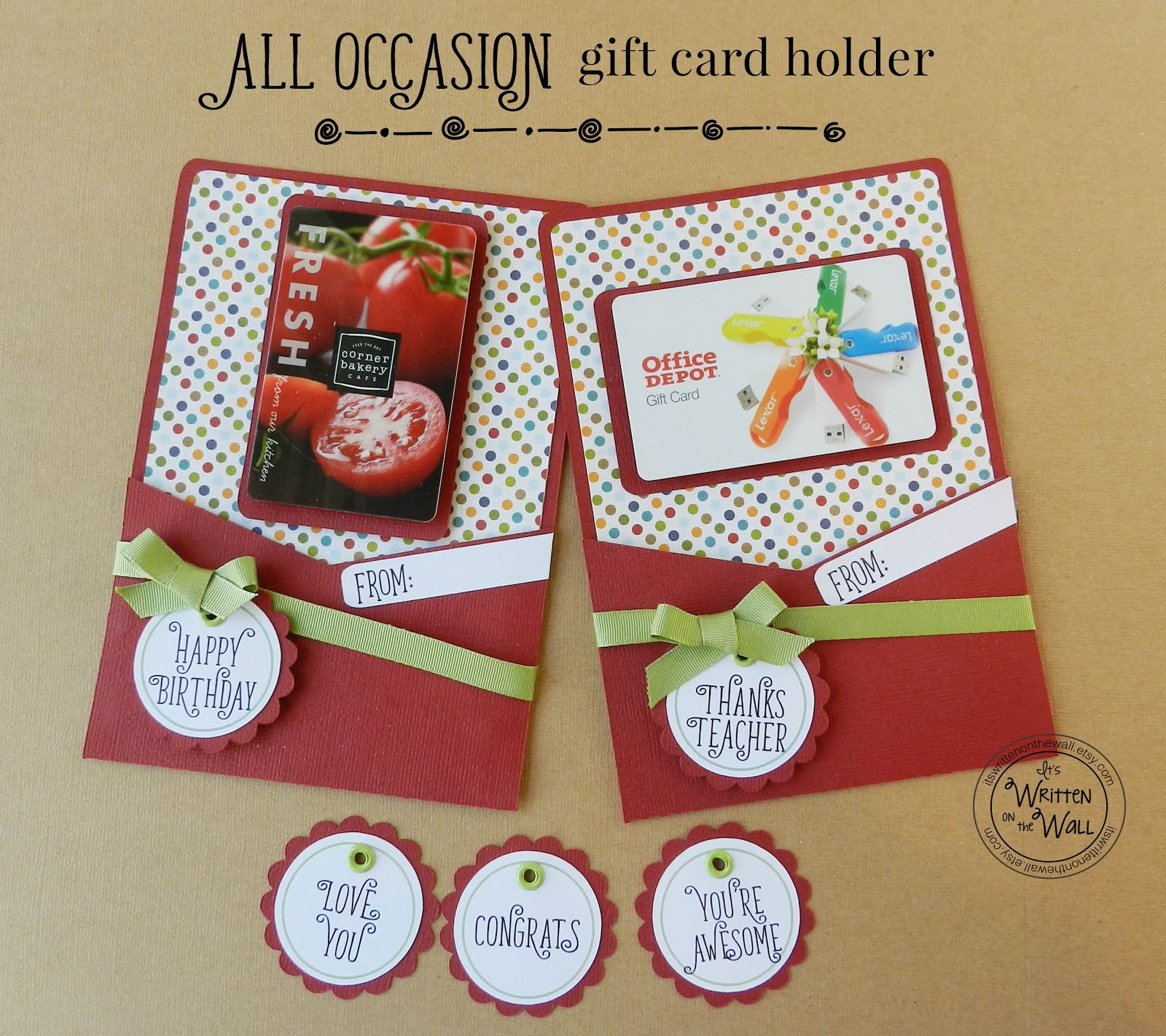 All Occasion Gift Card Holders-5 Different Message Tags