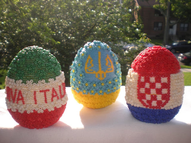 Beaded Easter Eggs Italian Ukrainian and Croatian Flags, Handmade by Daria Iwasko, USA