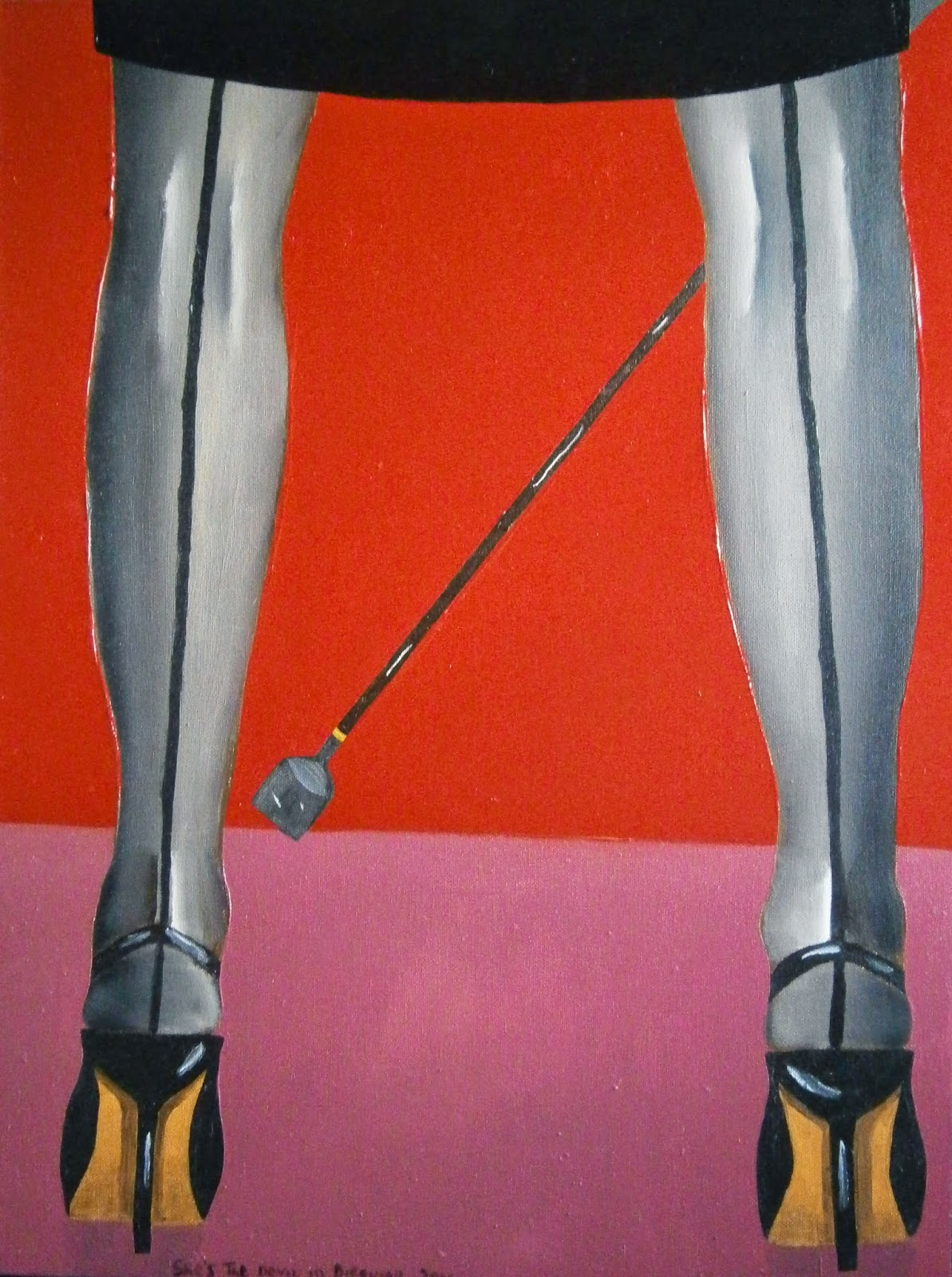A dominatrix wearing black seamed stockings and holding a riding whip