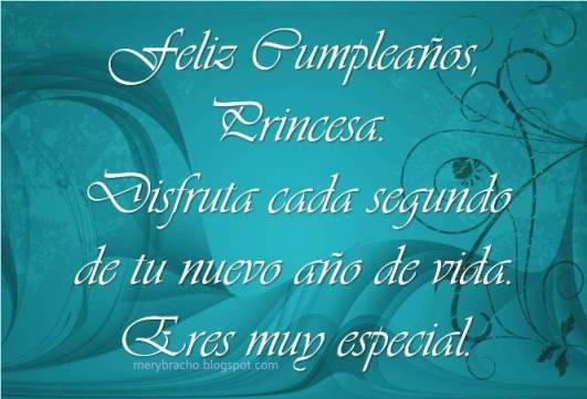 Postal Feliz Cumpleaños, Princesa de mi corazón. Postal cristiana para mi princesita, para mi hija, buenos deseos en postal para mi amiga.