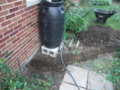 dig trench near rain barrel, roof drain