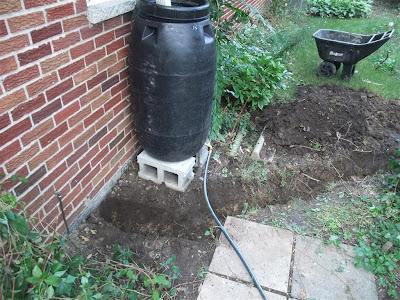 dig trench near rain barrel, roof drain