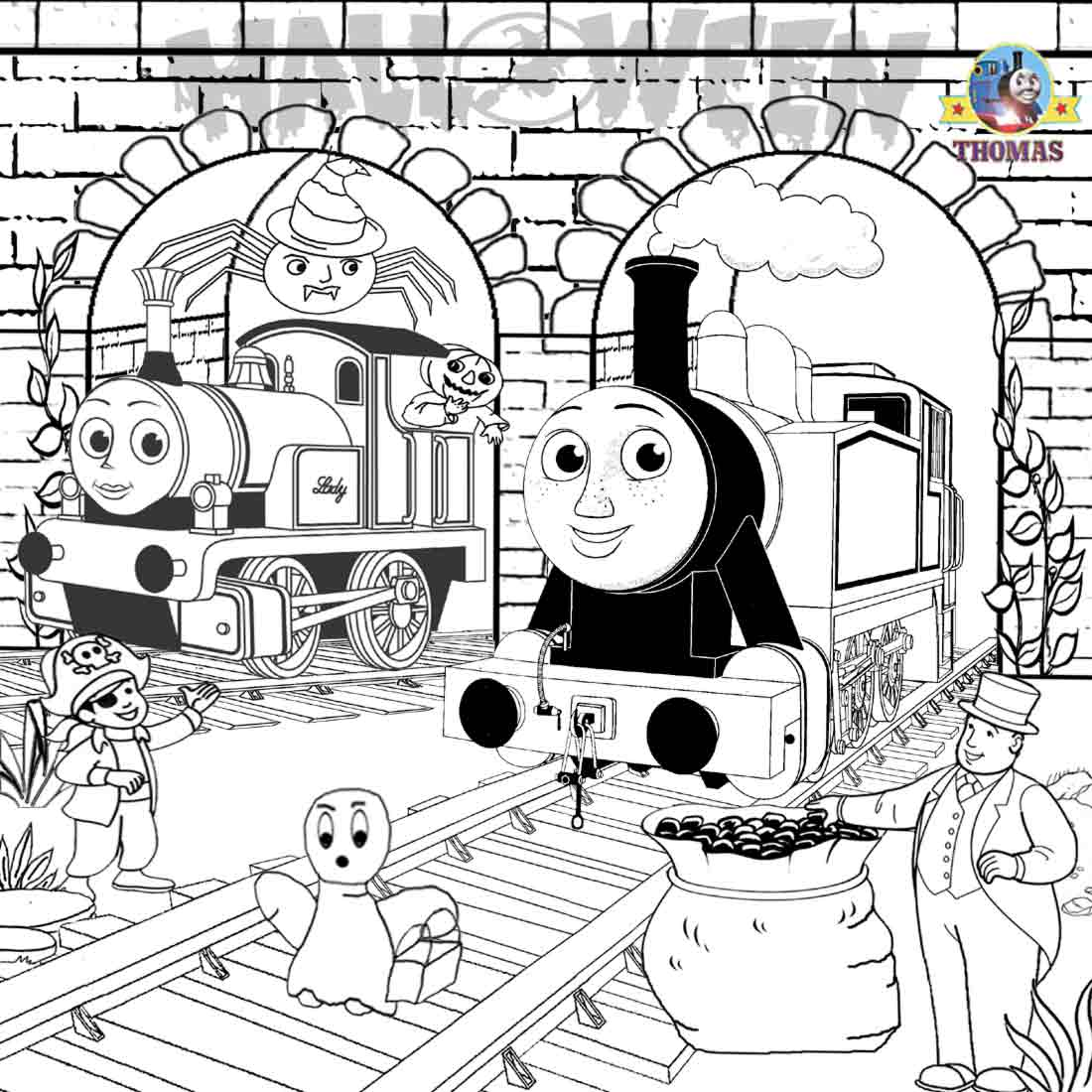Halloween fun ideas thomas the tank engine rosie and lady coloring trick or treat pictures for