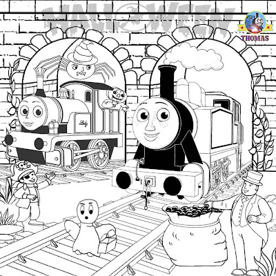 Halloween fun ideas Thomas the tank engine Rosie and Lady coloring Trick or Treat pictures for girls