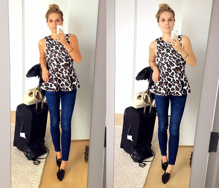 Leopard Print Peplum Denim Chanel Loafers Travel Clothes