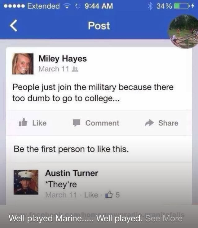"People just join the military because there just too dumb to go to college... A Marine chimes in to the chat saying ""They're"""