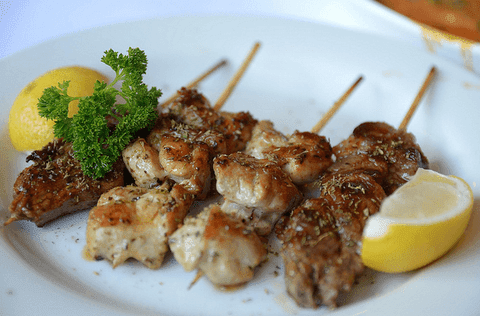 Peppery chicken and lamb souvlaki