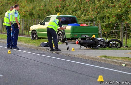 Police and St John Ambulance attended a motorcycle vs ute accident on York Rd, Hastings, about 300m from the intersection with Maraekakaho Rd. Corey Ubels from the Serious Crash Unit investigated. photograph