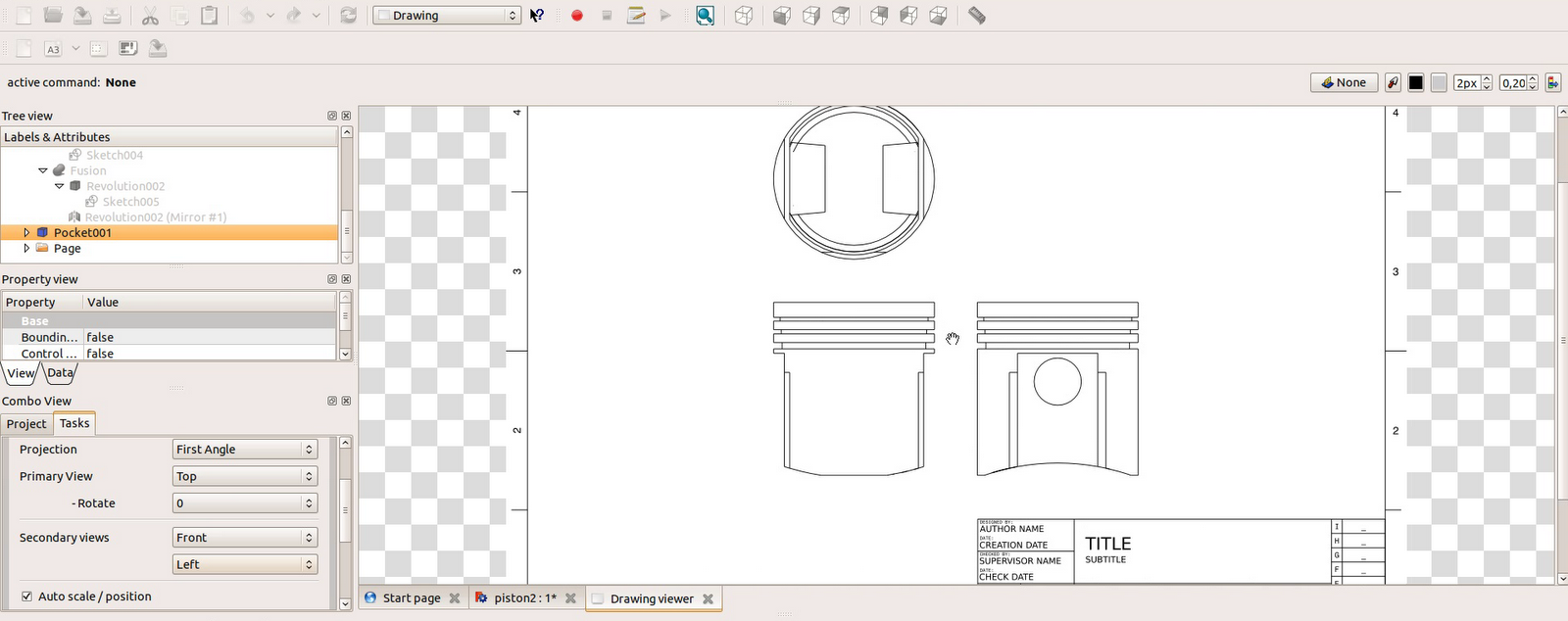 Freecad tutorial engine 10 piston select last shape pocket001 and use insert an orthographic projection of a part in the active drawing you have to define projection type first angle biocorpaavc Gallery