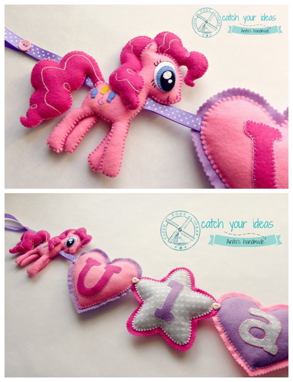 girlanda z filcu, kucyk Pinky Pie z filcu, My Little Pony Pinky Pie felt