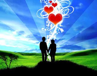 pareja enamorada  tomada de la mano con corazones