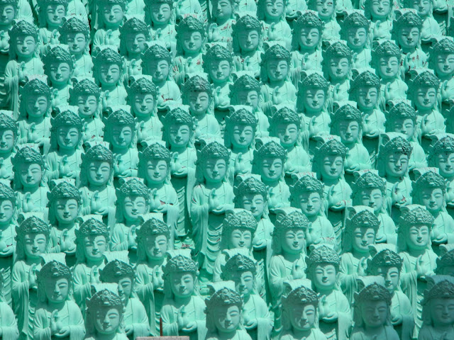 Relics of greenish blue Buddhas