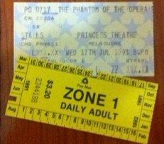 Phantom of the Opera ticket and tram ticket