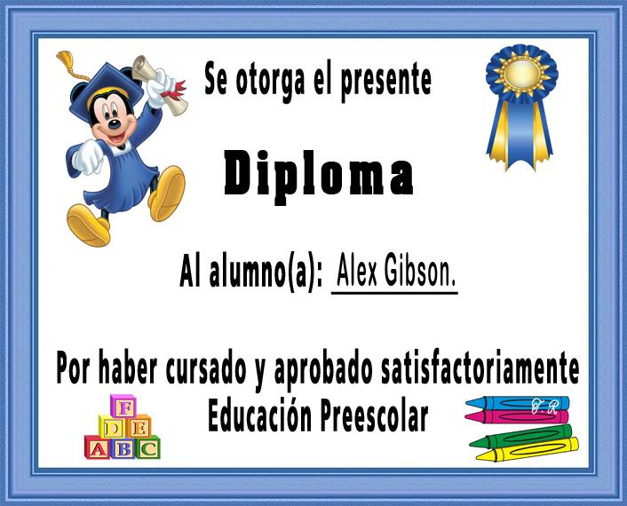 DIPLOMAS PARA ALUMNOS GRADUADOS DE EDUCACIÓN INICIAL Y PREESCOLAR
