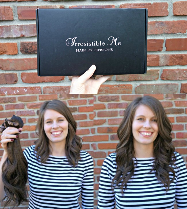 My boring, thin, fine hair transformed by Irresistible Me Hair Extensions! Love them.
