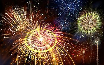 fireworks, night