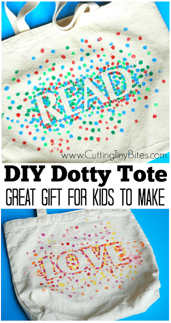 Kids can make this great gift for family or friends! Painted dotty tote bag that you can customize with any word or design that you want. Great gift for teachers, neighbors, friends, or family.
