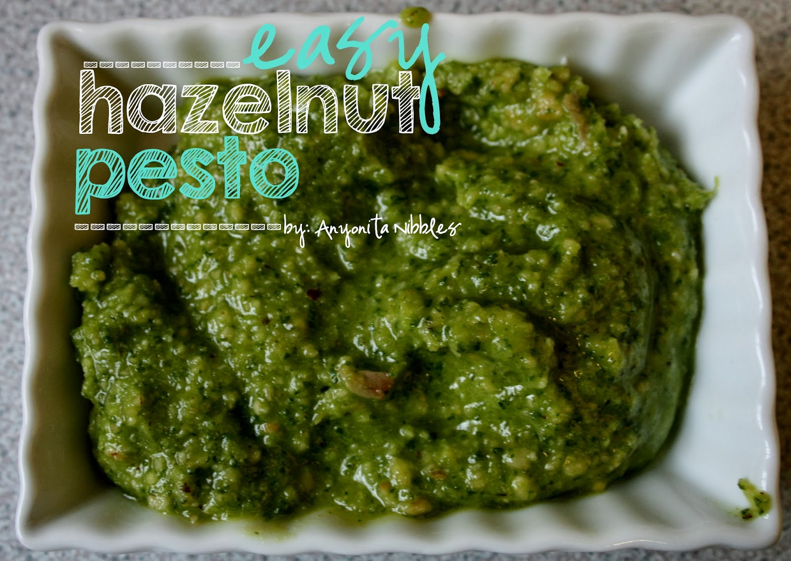 Easy Hazelnut Pesto perfect for tossing fresh pasta in or spreading on toast and topping with tomatoes