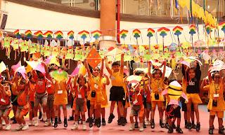 School Children celebrated Makarsankranti with Orphan Kids by flying Kites.