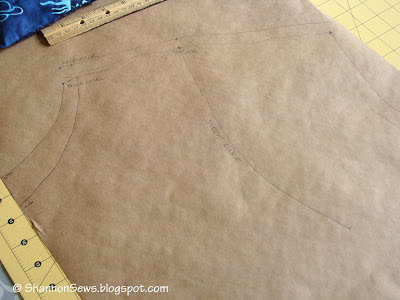 label the shirt pattern with necklines, shoulder seams, etc.