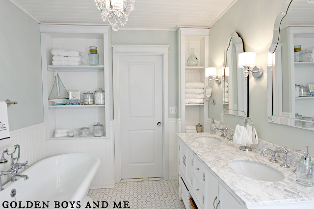 Master Bathroom diy, carrera marble, built ins, pedestal tub-www.goldenboyandme.com
