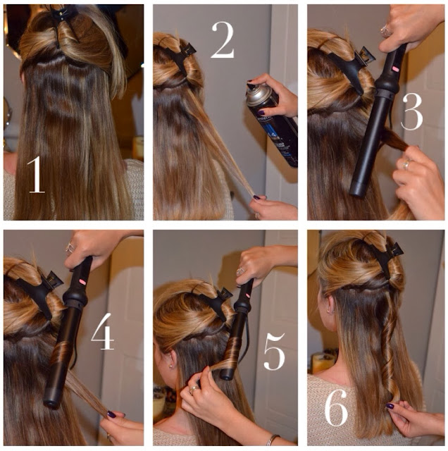 Pleasantly petite fashion lifestyle blog how to styling wand section the hair so that the bottom half is down and the upper is tucked away in the hair clip depending on how thick or thin your hair is will determine urmus Gallery