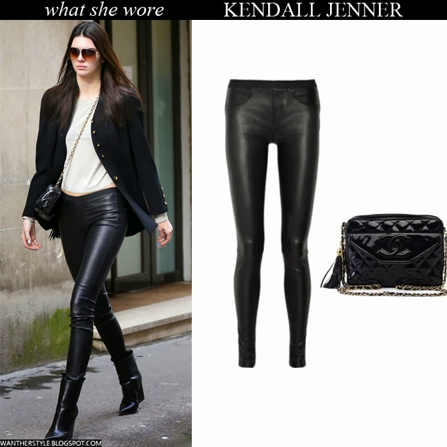Kendall Jenner in black leather Helmut Lang leggings with black patent Chanel bag Want Her Style