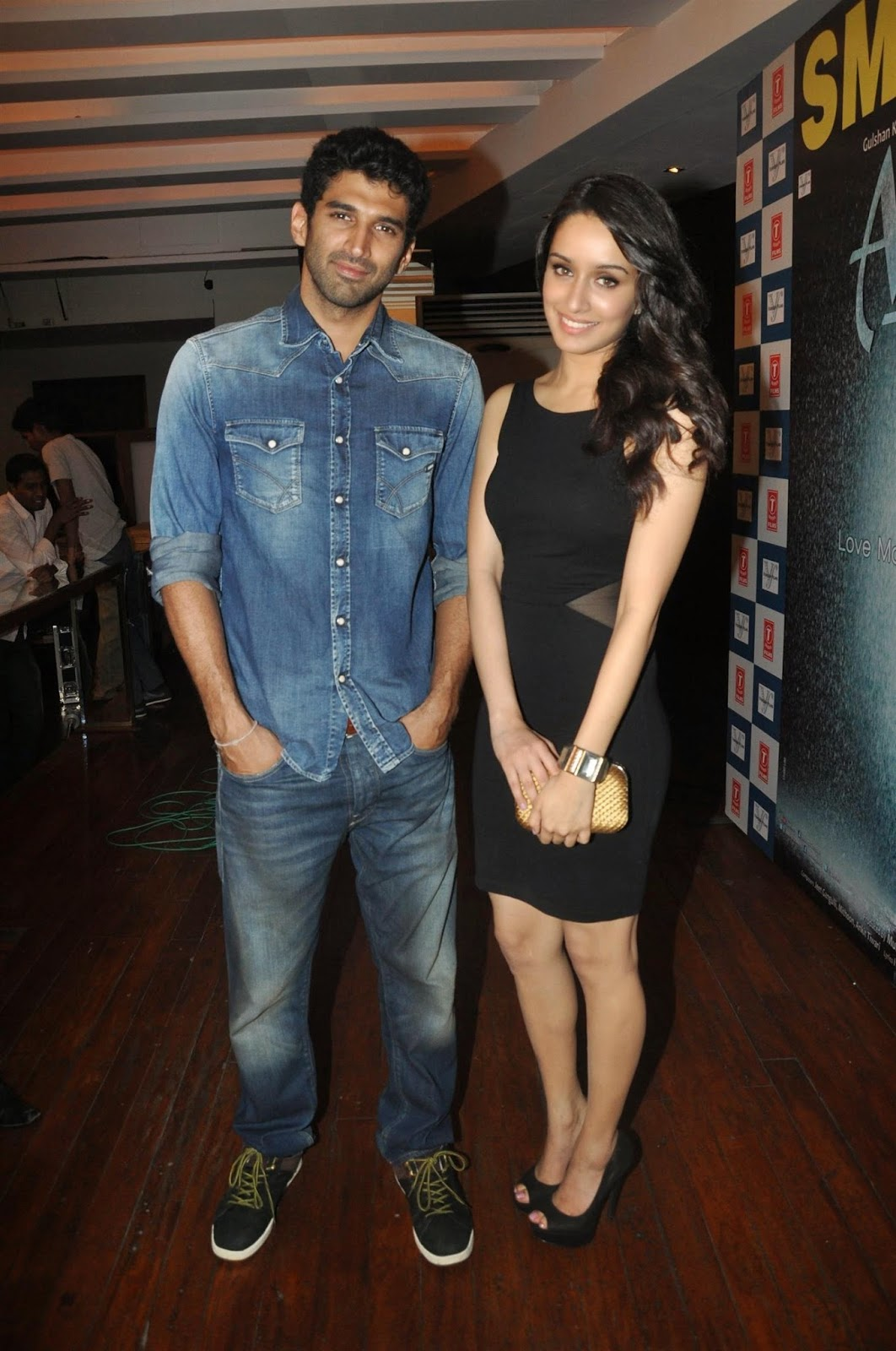 Shraddha Kapoor with co-star Aditya Roy Kapur Success bash
